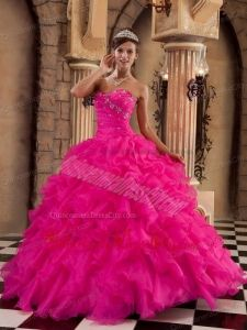 Coral Red Ball Gown Sweetheart Floor-length Organza Ruffles Quinceanera Dress