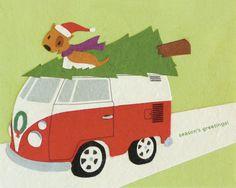 Retro Christmas Holiday Greeting Card
