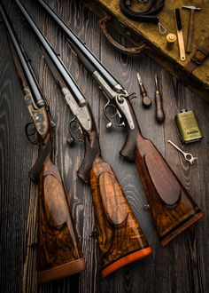 "gentlemanbobwhite: ""A trio of double rifles by Holland and Holland made between 1887 and "" Lever Action Rifles, Bolt Action Rifle, Weapons Guns, Guns And Ammo, Side By Side Shotgun, Bushcraft, Shooting Guns, Game Shooting, Firearms"