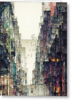 Streetscape 1 Greeting Card by David Hansen