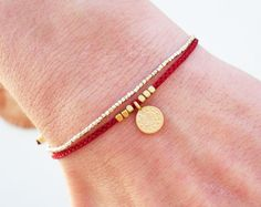 Wish bracelet Friendship bracelet Red string by Beadstheater