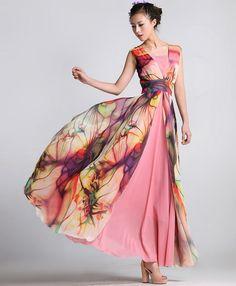 Spring Summer Chiffon Long Dress Lady Women Clothing by handok, $93.00