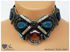 OOAK Statement necklace beadwork embroidery hight fashion choker disco party modern shiny fancy piece blue grey black leather spikes her RebelSoulEK necklace