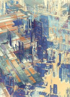 The digital illustration series entitled Cities IV / Deconstructed was created in 2011 by the Austrian design and photography team Atelier Olschinsky Illustration Sketches, Digital Illustration, Deconstruction, Oeuvre D'art, Architecture, Urban Art, Concept Art, Contemporary Art, Art Photography