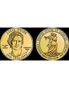 """To date, mintages for the Uncirculated and Proof 2009-W Julia Tyler First Spouse gold $10 bullion coins remain the lowest of the series. Some 2011 issues, however, may unseat """"Queen Julia."""" United States Mint, Bullion Coins, Uncirculated Coins, Proof Coins, Gold Coins, Queen, Art, Art Background, Kunst"""
