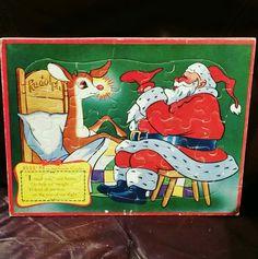 Vintage Rudolph & Santa Christmas Tray Puzzle by Jaymar Specialty Company 1070-3 #JaymarSpecialtyCompany