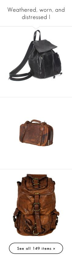"""""""Weathered, worn, and distressed I"""" by valkyrie-black ❤ liked on Polyvore featuring bags, backpacks, accessories, drawstring flap backpack, grunge backpack, leather strap backpack, mini leather backpack, gothic backpack, fillers and purses"""