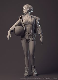Basketball Girl Character Design Fashion Illustration by Marianna-kot 3d Fashion, Fashion Design, Girls Characters, Fictional Characters, Art Portfolio, Zbrush, Sculpting, Character Design, Basketball