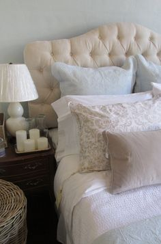 Penney & Company bedroom set up: Cream Tufted Headboard, Robin's Egg Bedding, Gourd Lamps, Pinecone Hill Bedding