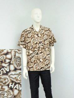 Vintage 60s Off White and Brown Hawaiian Shirt, Made In Hawaii, Tiki Shirt, Aloha Shirt, Tropical Shirt, Retro Shirt, Summer Resort Wear
