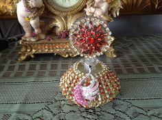 Red jeweled swan perfume bottle by cindysvictorian on Etsy, $33.50