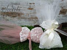 Μπομπονιέρα γάμου πουγκί δαντέλα