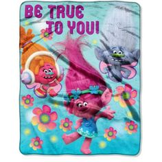 DreamWorks Trolls Be True to You 40 inch x 50 inch Silk Touch Throw, Multicolor