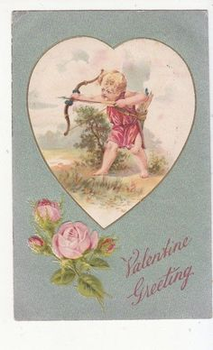 Valentine Greeting Bow and Arrow Pink Roses Vintage Postcard 1908 | eBay