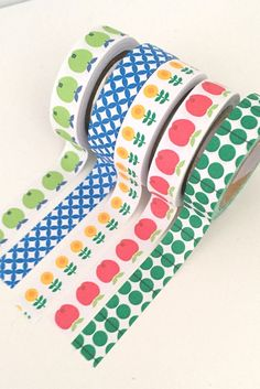 5 Roll Set Masking Paper Tapes 10mm x 5m Apples Flowers Geometric Bright Primary Colours Yellow Jade Green Royal Blue Red Lime