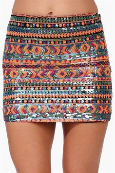 Sequin Night Mini Skirt in Multi.  I like this...just wish it came in a longer length :(