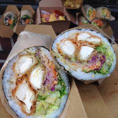 A few months ago we told y'all was and we still maintain that their Sushi Burrito Rolls are good‼️. C'mon what's better than a SUSHI BURRITO? In the pic,. Sushi Recipes, Cooking Recipes, Chicken Sushi, Sushi Burrito, Onigirazu, Hawaiian Dishes, Aesthetic Food, Food Cravings, International Recipes