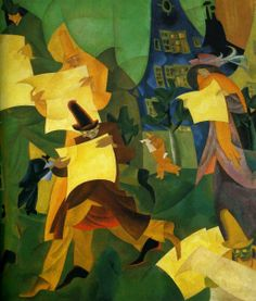 """Lyonel Feininger (American/German, 1871-1956), """"Newspaper Readers II"""", 1916."""