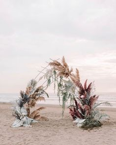 30 Summer Wedding Trends Ideas ❤️ summer wedding trends bohemian beach ceremony with pampas grass and large leaves zhenyaswan To help you to be in trend we create this inspirational gallery. Read on and find summer wedding trends for your celebration. Beach Ceremony, Ceremony Arch, Wedding Ceremony, Wedding Bride, Decor Wedding, Wedding Altars, Wedding Arches, Wedding Flower Backdrop, Wedding Centerpieces