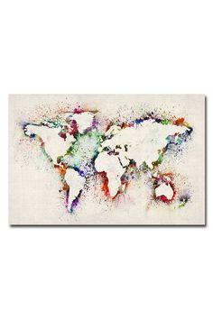 Michael Tompsett 'World Map - Paint Splashes' Canvas Wall Art - Beyond the Rack
