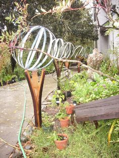 Wine Barrel Hoop Garden Spheres & Oak Barrel Stave Stands