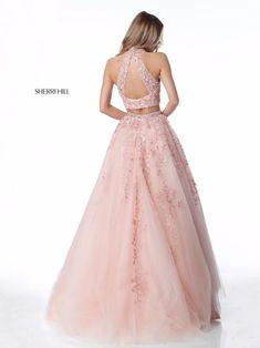 Sherri Hill - 51925 Two Piece Appliqued High Halter A Line Dress Sherri Hill Prom Dresses, Cute Prom Dresses, Prom Dresses 2018, Sweet 16 Dresses, Grad Dresses, 15 Dresses, Dresses For Teens, Evening Dresses, Formal Dresses