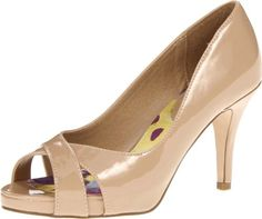 Madden Girl Women's Gertiee Open-Toe Pump,Nude Patent,8.5 M US