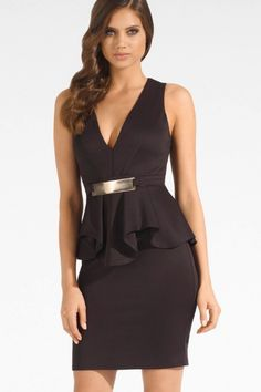 Black Deep V Ruffle Peplum Dress with Metal Plate US$22.54 Cheap Cocktail Dresses, Cheap Dresses, Sexy Dresses, Fashion Dresses, Peplum Dresses, Sexy Party Dress, Dress Up, Plus Size Womens Clothing, Clothes For Women