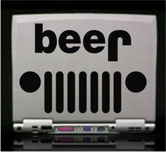 "Amazon.com: Jeep Funny beer Die Cut Vinyl Decal Sticker 6"" White: Automotive"