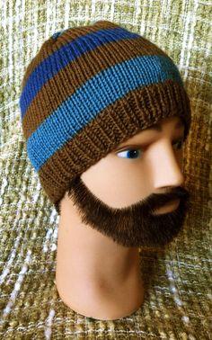 Knit hat, blue/brown stripe beanie. $25.00, via Etsy.