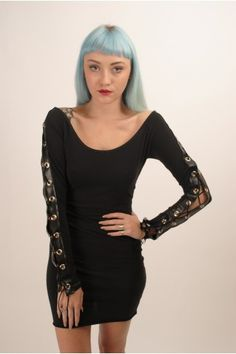 Lace Up Long Sleeve Chopper Dress by The Ragged Priest UK Body Con Fit Scoop Neckline 90% Cotton, 10% Elastane