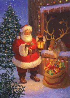 Artwork and illustration by Daniel Rodgers Christmas Poster, Christmas Scenes, Santa Christmas, Winter Christmas, Vintage Christmas, Christmas Holidays, Christmas Crafts, Christmas Decorations, Xmas