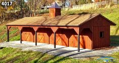 12x48 Barn with 4 Stalls, 8' Overhang (front) & 4' overhang (back)