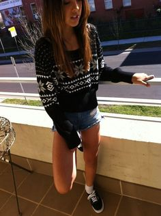 fashion, shorts, style, sweater, vans