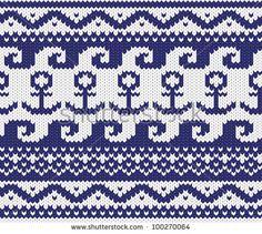 Seamless knitted marine pattern . EPS 8 vector illustration.