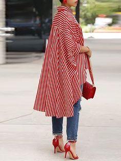 Shop Striped Print Batwing Sleeve Dip Hem Loose Blouse right now, get great deals at joyshoetique Long Blouse, Black Blouse, Blouse Dress, Mode Kimono, Trend Fashion, Ladies Fashion, Style Fashion, Fashion Ideas, Look Plus