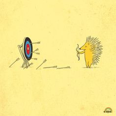 Hunger Games Porcupine practices his archery skills.practice makes perfect! Funny Doodles, Love Doodles, Funny Illustration, Illustrations, Funny Puns, Funny Art, Humor Grafico, Archery, Cute Cartoon