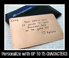 Copper Wallet Insert Card - Personalized Hand Stamped Metal - UP TO 75 Characters - Gift Husband Boyfriend 7 Seven Year Anniversary