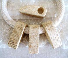 Ivory Big Tooth Ceramic Pendant Handmade Greek Inlay by vess65