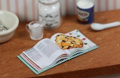 1/12th Scale Miniature Open Cookbook by LorisLittleThings on Etsy