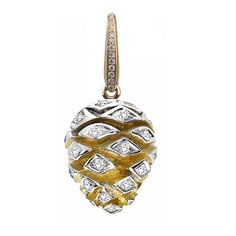 Pine Cone Charm. The Pine Cone Charm with pavé diamonds 0.40ct, set in 18ct yellow gold, is a detachable charm with Pavé diamond clasp to clip onto the Charm Bracelet, the Oak Leaf Bracelet or the Woodland Necklace. $4,400 Asprey London