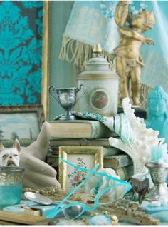 turquoise and sky blue / a collection of items / domestic landscape