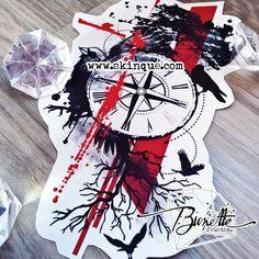 Trash polka compass bird raven tree forest tattoo illustration