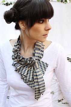 Neckties made into a ruffled scarf. I'll have to figure this one out.