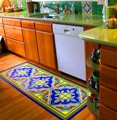 custom made vinyl mat by Studio K to match client's kitchen tile