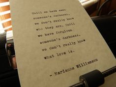 Marianne Williamson Quote Handtyped on Vintage by DaysLongPast, $10.00 Now available! https://www.etsy.com/listing/183781295/marianne-williamson-quote-hand-typed-on?utm_source=Pinterest&utm_medium=PageTools&utm_campaign=Share