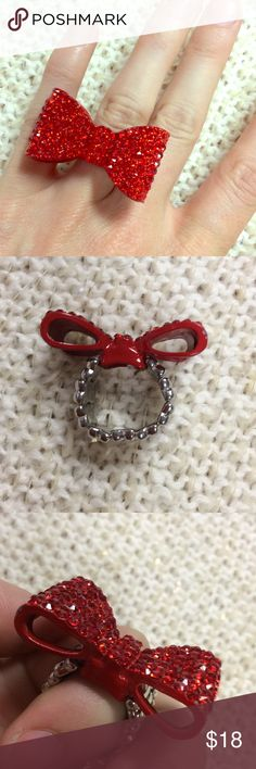 BIG Rhinestone Red Lolita Bow Ring Edmonds me of Minnie Mouse. Excellent condition. Sparkle. Shine. Shimmer. Adjustable stretchy size silver tone band. No tarnishing. Jewelry Rings