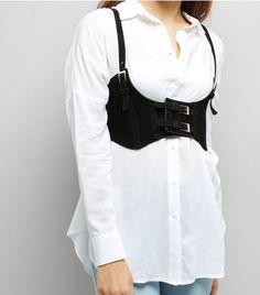 Black Velvet Under Bust Corset Belt | New Look
