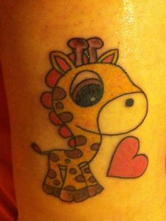 You are in the right place about Baby cartoon Giraffe tattoo! Giraffe Tattoos, Baby Tattoos, Animal Tattoos, Love Tattoos, Tattoo You, New Tattoos, Girl Tattoos, Baby Giraffe Pictures, Bff Tats