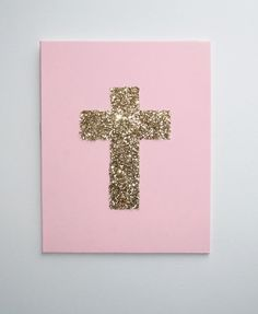 Gold Glitter Cross on Pastel Pink Hand Painted by JessCathDesigns, $12.95 #goldglittercross #crossart #pinkandgold